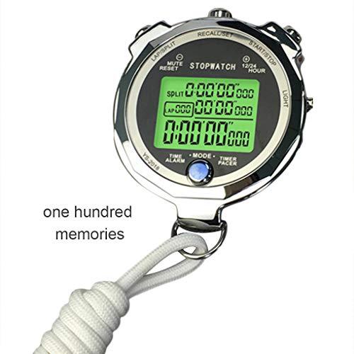 Zerama Backlight Stopwatch Metal Athletic Training Timer 1/1000th Second 3 Lap Memory Digital Stop Watch