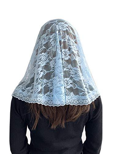 Veil Lace Mantilla Catholic Church Chapel Veil Head Covering Latin Mass (Blue)