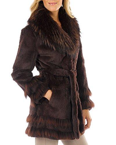 frr Fur Coat - Sheared Rabbit with Raccoon Fur Trim - L