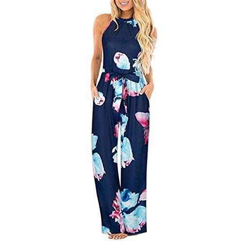 - TUSANG Women Dress Halter Neck Sleeveless Floral Long Jumpsuit Loose Comfy Skirts Belted Pocket Jumpsuit(Blue,US-10/CN-XL)