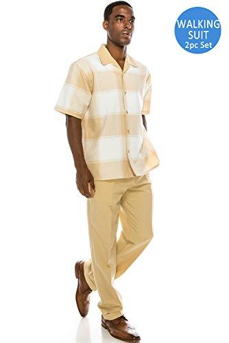 Men's Plaid 2-Piece Short Sleeve Walking Suit Set TAN Suit, (Mens Leisure Suit)