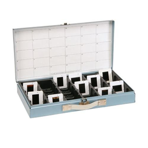 Logan Electric Slide File, Archival Metal Storage Box Holds 750 2x2 Mounted Slides in Groups of 25 in Styrene Inserts.