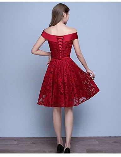 Besswedding Courte Bustier Rouge Des Femmes De L'épaule Une Ligne Robes De Bal Formelle Rouge