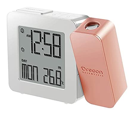 Oregon Scientific RM338P - Reloj despertador proyector con temperatura interior (Digital, AA, blanco, rosa)