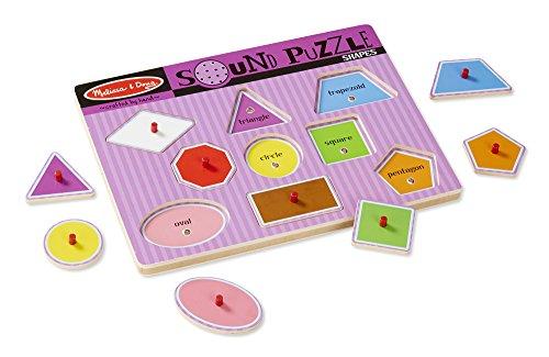 Melissa Doug Shapes Peg - Melissa & Doug Shapes Sound Puzzle - Wooden Peg Puzzle With Sound Effects (9 pcs)