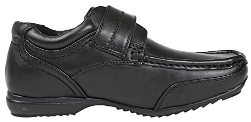 Kids Slip Leather 2 Black Boys Strap School Formal 8 Shoes Black On Adjustable Size Faux FvRnxw5q