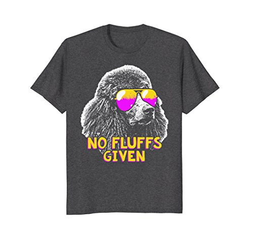 Mens Poodle No Fluffs Funny Shirt 2XL Dark Heather