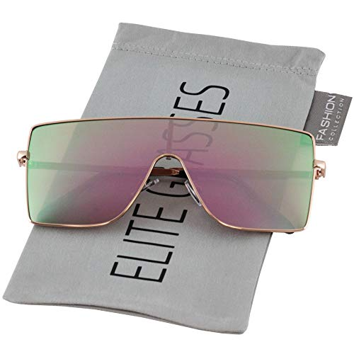 Retro Vintage Fashion (Oversized Flat Top Square VINTAGE RETRO SHIELD VISOR Style Aviator SUNGLASSES (Style 2-Pink/Mirror))