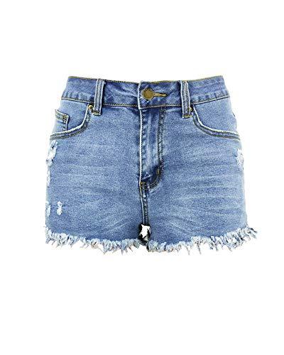 Aodrusa Womens Ripped Denim Shorts Mid Rise Body Enhancing Curvy Cutoff Distressed Jeans Light Blue US 16-18 ()
