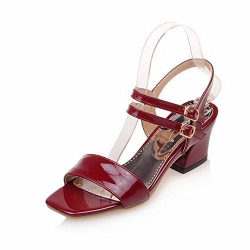 AllhqFashion Womens Kitten-Heels Patent Leather Solid Buckle Open Toe Sandals Claret 5ocJuTZ