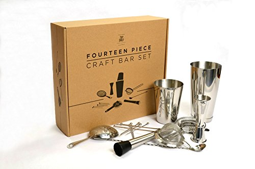 Craft-Bar-Set-Complete-14pc-Kit-for-Professional-Bartenders-Includes-Boston-Shaker-Set-Japanese-Jigger-Cocktail-Picks-Hawthorne-Strainer-Julep-Strainer-Fine-Strainer-Bar-Spoon-and-Muddler