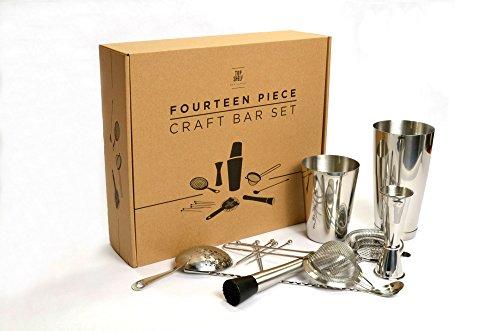 Craft-Bar-Set-Complete-14pc-Kit-for-Professional-Bartenders-Includes-Boston-Shaker-Set-Japanese-Jigger-Cocktail-Picks-Hawthorne-Strainer-Julep-Strainer-Fine-Strainer-Bar-Spoon-and-Muddler