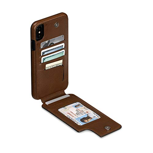 Wallet Skin Leather Cell Phone Case for iPhone XS Max - Wireless Charging Compatible - ()