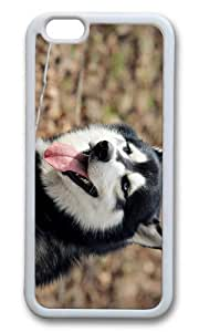 MOKSHOP Adorable Husky Dog Soft Case Protective Shell Cell Phone Cover For Apple Iphone 6 Plus (5.5 Inch) - TPU White