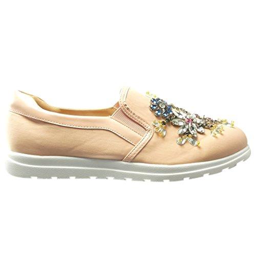 Angkorly - Chaussure Mode Baskets Mocassin slip-on semelle basket femme fleurs bijoux fantaisie Talon plat 0 CM - Rose