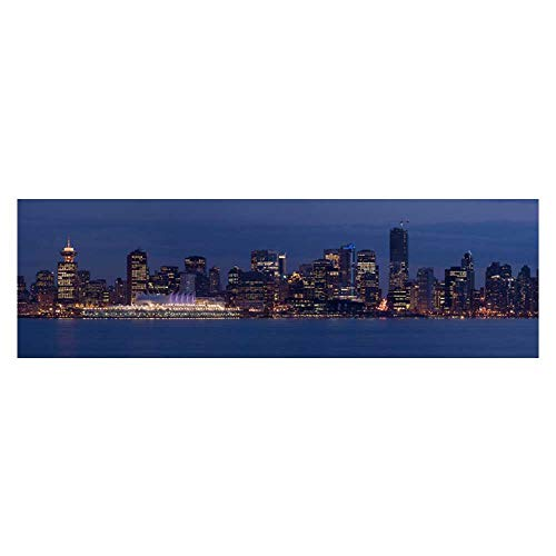 Dragonhome Decorative Aquarium Background Poster The Light Downtown Vancouver Canada at Dusk The City Will be Host The Winter Aquarium Sticker Wallpaper Decoration L29.5 x H11.8 ()