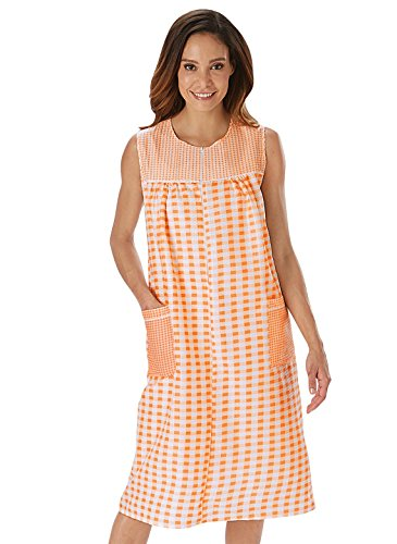 Carol Wright Gifts Zip-Front Gingham Shift, Peach, Size Extra Large (4X)