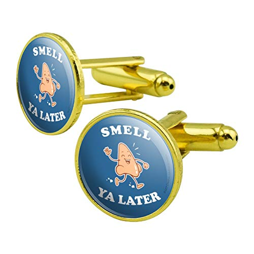 GRAPHICS & MORE Smell Ya Later See Nose Funny Humor Round Cufflink Set Gold ()