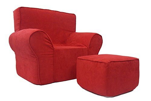 Fun Furnishings Chair and Ottoman, Red Micro (Comfy Red Chair)