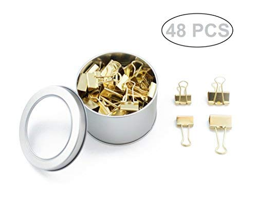 SKKSTATIONERY 48 Pcs Binder Clips, Gold Style, 1 inch & 0.75 inch.
