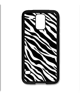 Samsung Galaxy S5 SV Black Rubber Silicone Case - Zebra Heart Tiffany Blue with zebra pattern heart by mcsharks
