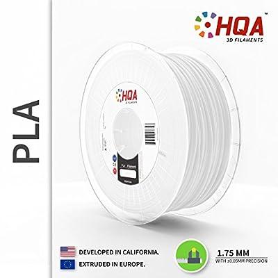 HQA PLA+ 3D Printer Filament, White, 1.75MM, 1KG Spool, [100% USA NatureWorks 4043D]