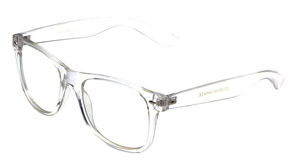 3ff54490507 Amazon.com  Fake Plastic Transparent Clear Frame Non-Prescription Chic  UV400 Protection  Clothing