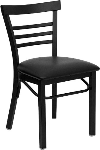 Flash Furniture HERCULES Series Black Ladder Back Metal Restaurant Chair - Black Vinyl Seat (Ladder Used Back Chairs)