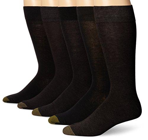 Gold Toe Men's Flat Knit Crew 5 Pack, Black, Sock Size: 10-13/Shoe Size:6-12 1/2