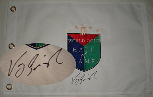 - Vijay Singh Hand Signed / Autographed Golf Hall of Fame Pin Flag