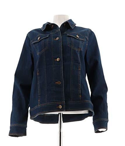 Liz Claiborne Ladies Jeans - Liz Claiborne NY Denim Button Front Jean Jacket A240512, Med Rinse, M