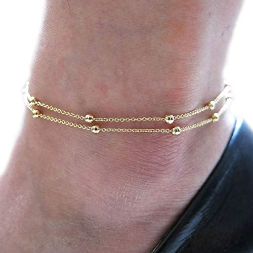 Jovono Simple Gold Bead Anklet Bracelet Double Layer Foot Chain for Women and Girls (Gold) ...