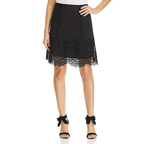 (Kobi Halperin Womens Linen Embroidered A-Line Skirt Black S)