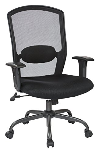 Office Star Breathable Screen Back and Padded Mesh Seat, Adjustable Arms, Titanium Finish Base High Back Managers Chair, Black