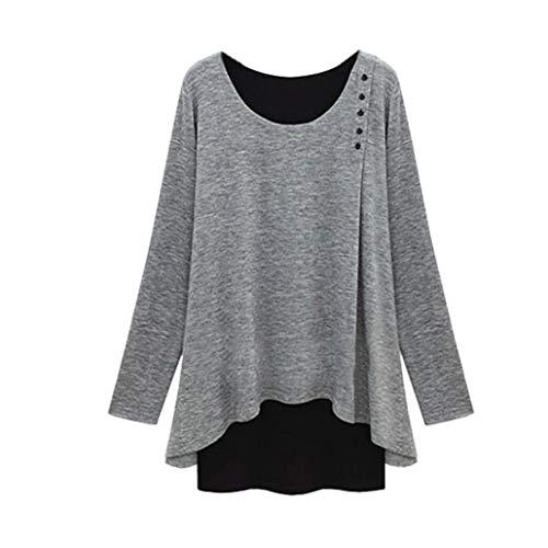 Taore Women Plus Size Long Sleeve Asymmetry Hem Loose Blouse Tunic T-Shirt (4XL, Gray) by TAORE Long sleeve
