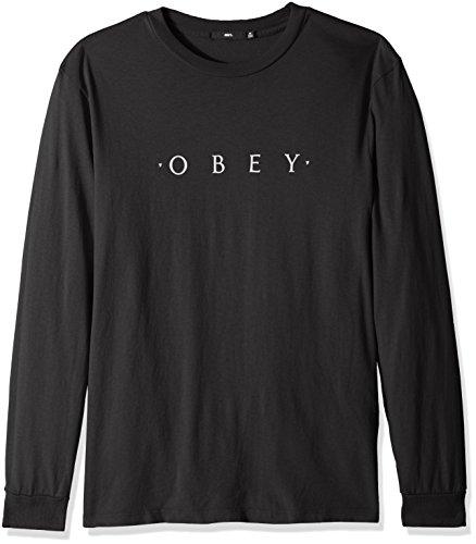 Obey Men's Novel Long Sleeve Pigment Tshirt, Dusty Black, Large