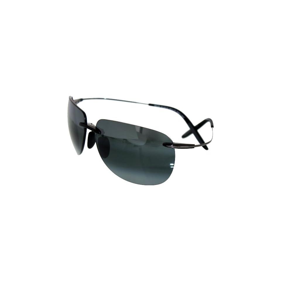 Maui Jim HT527 11 Black Gunmetal Nakalele Rimless Sunglasses Polarised Driving