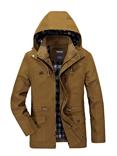 Minetom Men's Spring Autumn Warm Zipped Hooded Jacket Tops Casual Long Sleeve Thicken Lined Trench Coat Parka Outerwear A- Yellow