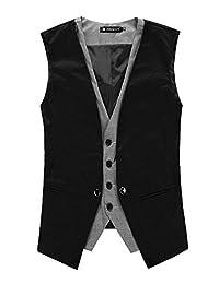 uxcell Men V Neck Sleeveless Plaid Button Down Closure Layered Waistcoat Vest