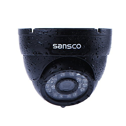 SANSCO 1/4 Inch Color CMOS 1080P HD CCTV Security Camera, IR Cut Day Night Vision, 3.6mm Wide Angle Lens, Weather Proof Metal Casing, Dome
