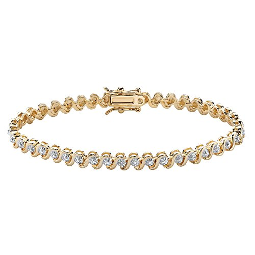 Palm Beach Jewelry Round White Diamond Accent S-Link Tennis Bracelet 18k Yellow Gold-Plated 7.5
