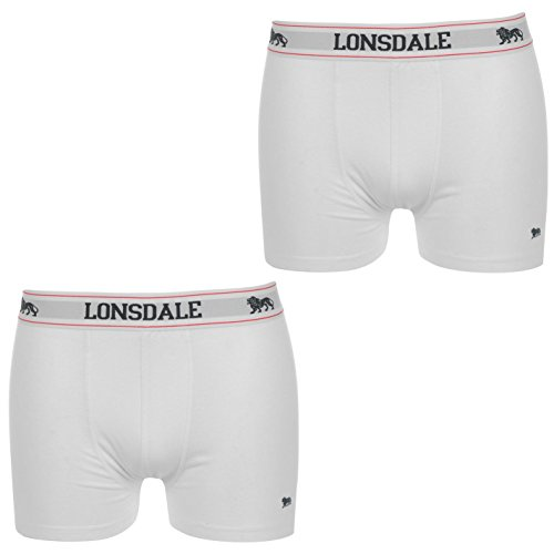 2 x LONSDALE Herren Unterwäsche Boxershorts Trunk Boxer Shorts Weiß