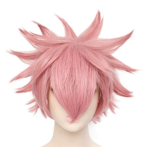 JoneTing Pink Cosplay Wig Short Wavy Synthetic Wigs for Comic Strip Cosplay Wigs for Anime]()