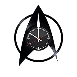 Star Trek Emblem Design Handmade Vinyl Record Wall Clock - Get unique home room or garage wall decor - Gift ideas for his and her – Fantasy Film Logo Unique Modern Art
