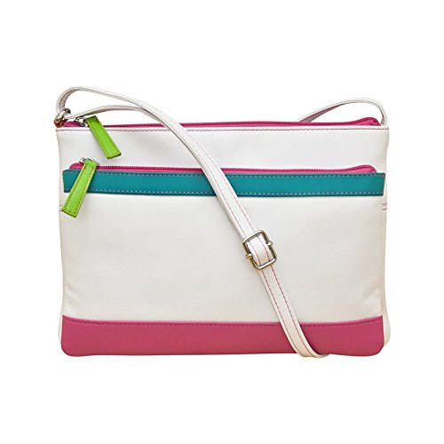 Cross White Multi Handbag 6028 ili Brights Leather Compartment body IqwEvEx10