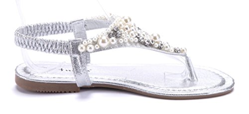 ... Schuhtempel24 Damen Schuhe Zehentrenner Sandalen Sandaletten Flach  Ziersteine Silber ... bcc1323819