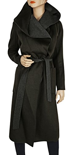 BCBGMaxazria Chandler Olive Green Long Wool Hooded Coat (S)