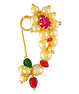 GirlZ! Traditional Maharashrian Nath Nose Ring Pink Colour Stone Along With Pearl Beads For Women - Big Size