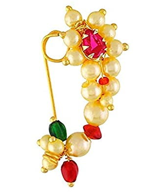 b76eaea7d6713 GirlZ! Traditional Maharashrian (Non Pierced) Nath Nose Ring Pink Colour  Stone Along With Pearl Beads For Women - Small Size