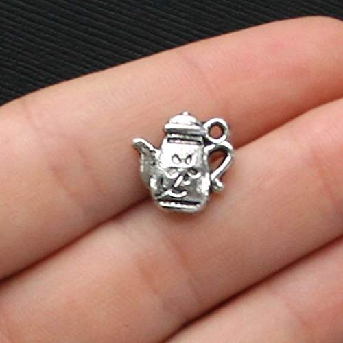 - Sale 8 Teapot Charms Antique Silver Tone 2 Sided with Flower Details - SC1443